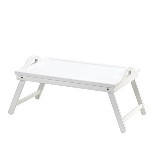Breakfast Bed Tray, Foldable Bed Trays For Eating, Wooden White Folding Bed Tray