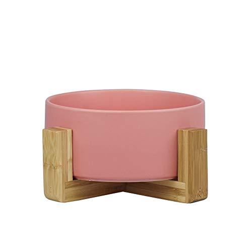 ピンク ペット ボウル フードボウル 犬 猫食器 陶器 大容量 850MLウォーター ボウル 犬猫用 餌入れ 水入れ 水飲みボウル 木製 ペット皿 滑り止め 安定感 取り外し可能 手入れ簡単 ペット用品