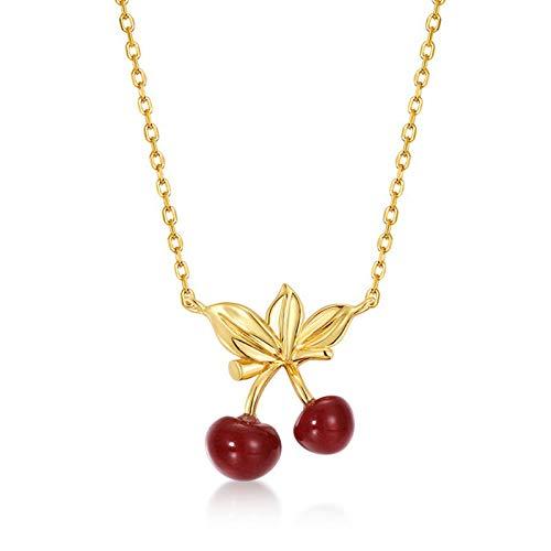 AMY-XCQ Collar, S925 Chapado En Plata De Oro De 9 Quilates, Cereza Roja Dulce, Collar De Cerezas Rojas Femeninas, Estilo Simple Japonés Y Coreano