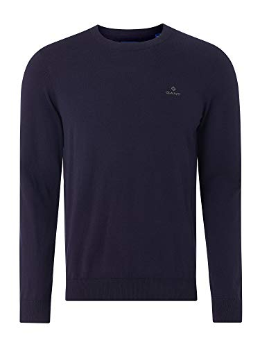 GANT Herren D1. Cotton Cashmere Crew Pullover, Evening Blue, L