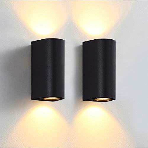 Bojim 2 x LED wandlamp, buitenwandlamp incl. 4 x 6W GU10 lampen, warm wit 2800K, 600 lumen, zwart IP65, buitenlamp, wandlamp voor binnen en buiten