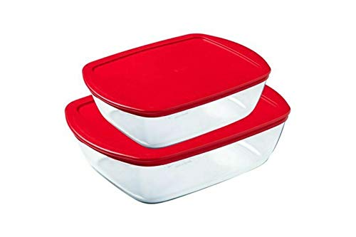 Pyrex Rectangular Glass Dish Microwavable with Red Plastic Lid Set 2 Pieces