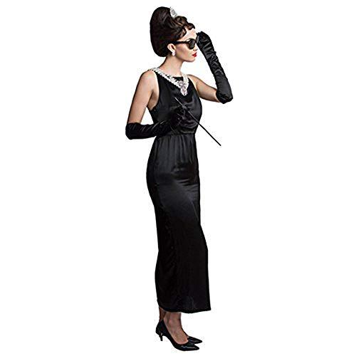 Utopiat Premium Satin Schwarz Kostüm Kleid Frauen inspiriert von Audrey Hepburn Stil (M, mit Geschenkbox)