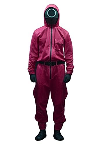 Disfraz de calamar para niños y niñas de moda de ocio chándal de calamar juego Cosplay de mascarada Accesorios de Halloween Disfraz de 2021 TV Cosplay mono, rosso, S