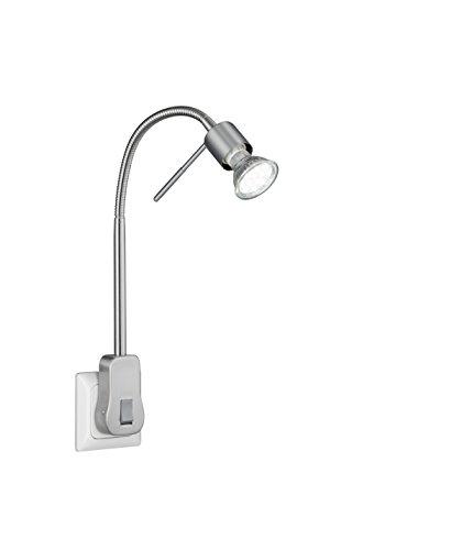 TRIO, Spot, Laon incl. 1 x LED,GU10,5,0 Watt,3000K,400 Lm. Corps: metal, Nickel mat L:4,7cm, H:40,0cm, P:16,0cm IP20,Interrupteur,Flexible