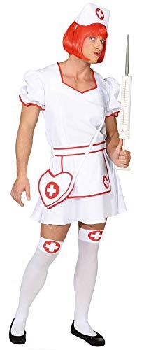 O7315-58-60 - Vestido de enfermera para hombre (talla 58-60), color blanco y rojo
