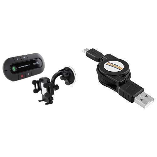 SuperTooth Buddy 2.1 Bluetooth Visier KFZ-Freisprecheinrichtung für Sonnenblende inkl. Universal In-Car Smartphone Handyhalterung Schwarz & mumbi aufrollbares Kabel USB 2.0 Typ A auf Micro-B Stecker