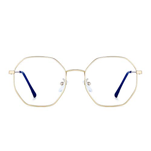 JM Lunettes Optiques Anti Lumière Bleue Designer Mode Cadre en Métal Lunettes de Vue Polygone Protection des Yeux Femmes Or