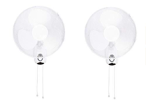 2er Set Oszillierender Wandventilator mit 3 Leistungsstufen Ø 40 cm weiß