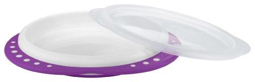 NUK 10255105 Easy Learning Esslern-Teller mit Deckel, Anti-Rutsch-Griffe, rutschfester Boden, BPA-frei, violett