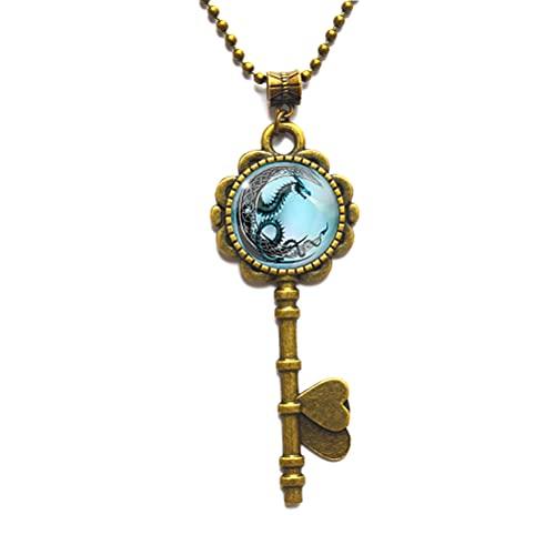 Collar de llave de dragón, collar de llave de dragón, regalo de animales, encanto de dragón, joyería de dragón, collar de llave de arte de fantasía, N266