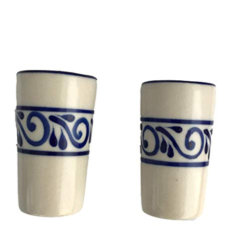 Mexican Shot Glasses, Tequilero Mexicano - Hand-painted in Mexico - Great for Tequila, Mezcal and Sangrita, 2 oz set of 2 - Tequilero Colonial White Flores Entre Lineas
