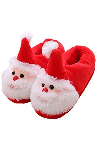 JOYSHOP Unisex Christmas Cute Plush Santa Claus House Slippers Adult Anti Slip Loafers,36,Female Red