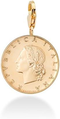 Miabella 18K Gold over Sterling Silver Genuine Italian 20 Lira Coin Dangle Medallion Charm Pendant product image