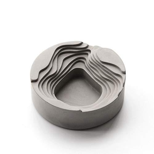 Xiaozou Retro Cigarette Ashtray Concrete Design Indoor Outdoor Table Tray Urban Style Industrial (Gray)