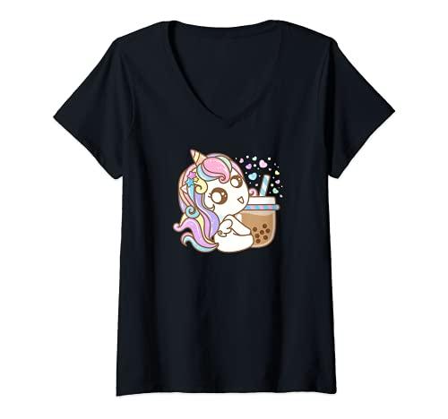 Mujer Unicorn disfruta con el té Boba - Bubble Tea Camiseta Cuello V