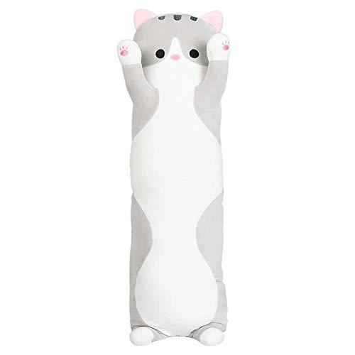 FONGFONG Grosses Plüsch Liegend Katze Kuscheltier 70cm Lange Weiches Umarmung Kissen Stofftier Spielzeug Kinderzimmer Decor für Kinder Mädchen Erwachsene