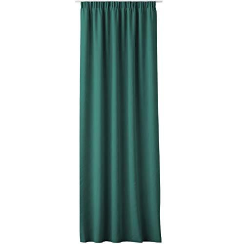 JEMIDI Cortina con cinta fruncida, cortina universal, 140 cm x 250 cm, cortina decorativa, cinta verde botella, 1 pieza