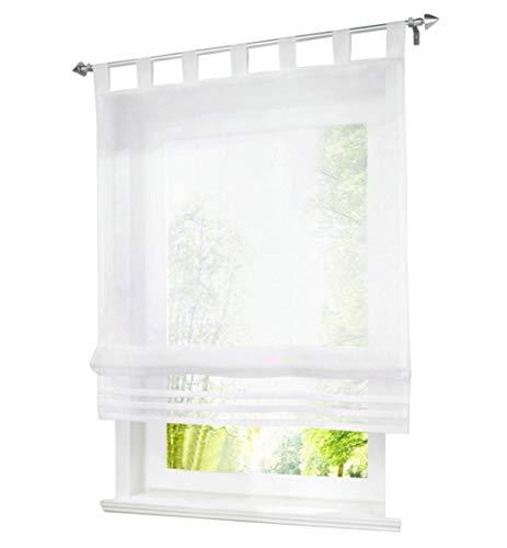 BAILEY JO 1er-Pack Raffrollo mit Schlaufen Gardinen Voile Transparent Vorhang (BxH 100x155cm, weiß)