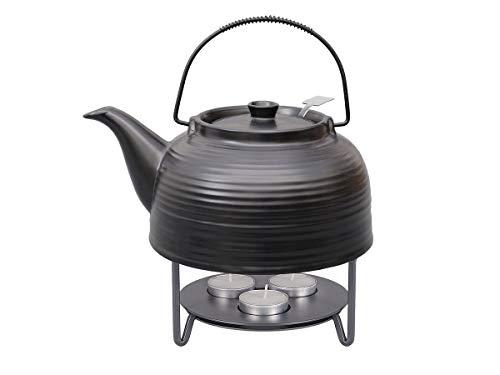 """tea4chill Teeservice """"Nelly"""". Moderne Teekanne 1,5 Liter in schwarz-schwarz aus hitzebeständiger Keramik mit Edelstahlfilter und Metall-Stövchen."""
