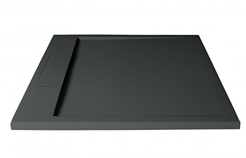 Massief stenen douchebak (Solid Surface) PB3087MG - mat grijs - 90 x 90 x 3,5 cm