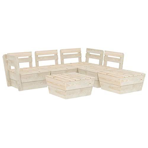 Tidyard Muebles de Paléts para Jardín 6 pzas Sofá y Mesa de Centro Exterior Patio Madera de Abeto Impregnada