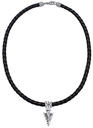 Kuzzoi Collar de piel para hombre con colgante de flecha de plata de ley 925 maciza, cadena de piel de vacuno trenzada en negro, longitud 50 cm, grosor 5,5 mm, cadena surfera, 0101322419_50