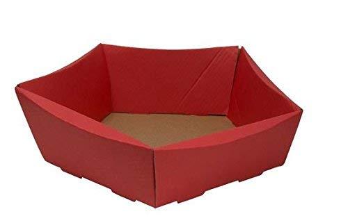 Cestini Di Cartone Ondulato Petit, 10 Pezzi, Dimensioni: 210 Mm X 200 Mm X 65/50 Mm, Colore: Rosso, Ideali Per Confezionare Regali O Per Gli Ovetti Di Pasqua.