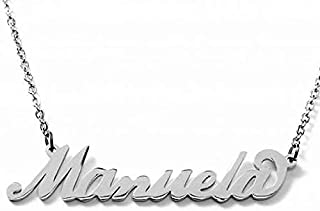 Collana nome in acciaio inossidabile. Nome Manuela possibilità di 180 nomi femminili donna disponibili. Perfetto per idea ...