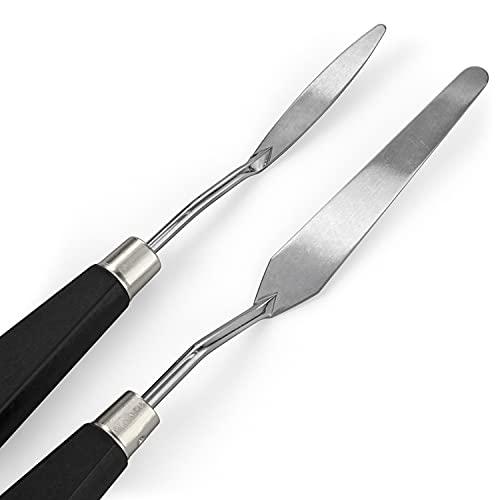 Pack de 2 couteaux à palette Arteza, tailles n°25 et n°11, Set F, lame en acier inoxydable durable et manche en bois résistant à la rupture, couteaux pour la peinture à l'huile et l'acrylique