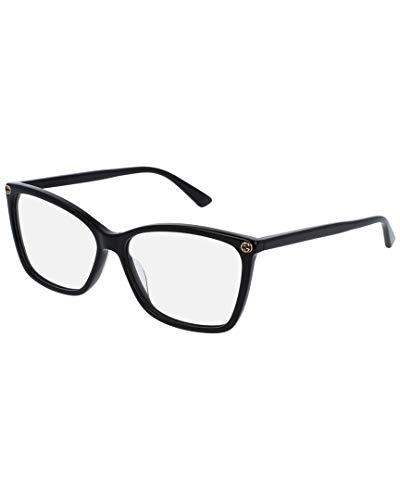 Gucci Unisex – Erwachsene GG00250-001-56 Brillengestell, Black-Black-transparent, 56