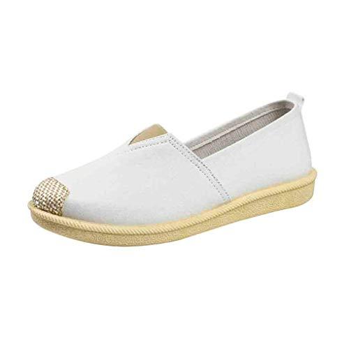Bootsschuhe für Schwangere Frau/Dorical Damen Slip On Flache Schuhe Canvas Halbschuhe Slippers Erbsenschuhe, Atmungsaktive rutschfest Casual Schuhe 35-40 EU(Weiß,40 EU)