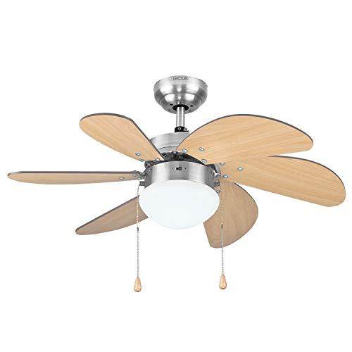 Cecotec Ventilador de Techo ForceSilence Aero 350. 81 cm de Diámetro, Luz, 6 Aspas Reversibles, 3 Velocidades y Función Invierno, 50W