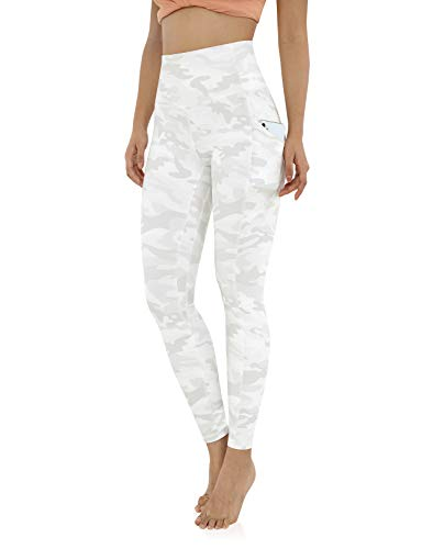 ODODOS Women's Out Pockets High Waisted Pattern Yoga Pants, Workout Sports Running Athletic Pattern Pants, Full-Length, White Camo, Small