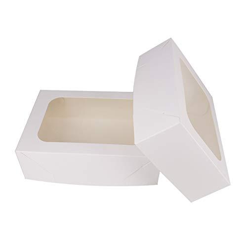 ZMCYN 20,3 x 14,6 x 6,3 cm weiße Kuchenboxen mit Sichtfenster, rechteckige Kuchenboxen für Cupcakes, Muffins, Desserts, stabile Backwaren Boxen für Zuhause, Partys, Geburtstage und Picknick (20 Stück)