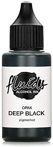 Fluids Alcohol Ink OPAK DEEP BLACK, Tinta al alcohol pigmentada, opaca sobre soportes claros y oscuros