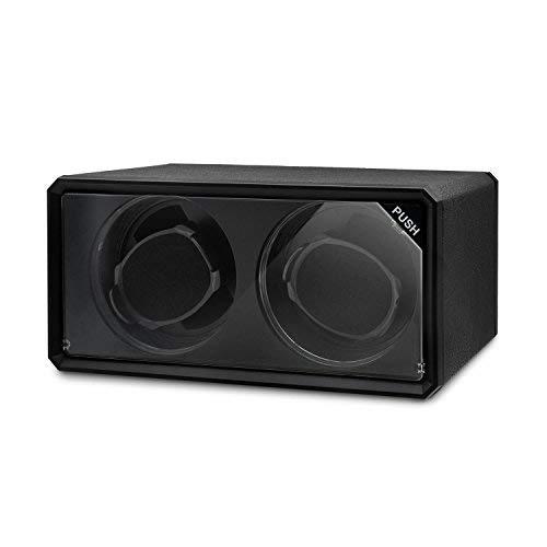 Klarstein 8LED2S Uhrenbeweger Uhrenbox (für 2 Uhren, Drehtribüne mit blauen LED-Lichteffekt, 4 Rotationsmodi, Sichtfenster, flüsterleise) schwarz