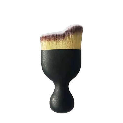Pinceles de maquillaje cepillos del maquillaje de Kabuki 1PC Profesional Curva Pincel Sculpting pincel de maquillaje con cubierta Fundación Bb Crema para uso diario (tricolor)