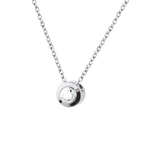 Collar Ernstes Design K785 colgante de circonita, acero inoxidable, cadena de ancla