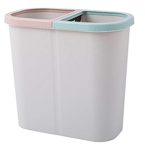 ZYZZ 10L Cubos Reciclaje para Oficina de El Plastico 2 Basura Reciclaje Compartimentos de 5L Basura Cubo Reciclaje Tapa con Bisagras
