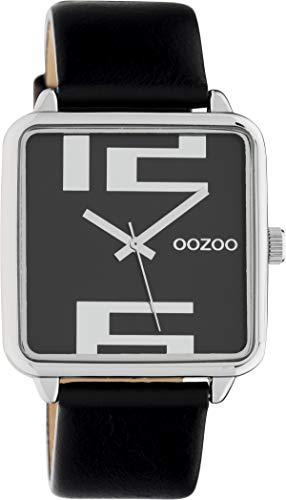Oozoo Damenuhr Quadratisch mit Lederband 35 x 35 MM Silber/Schwarz C10364