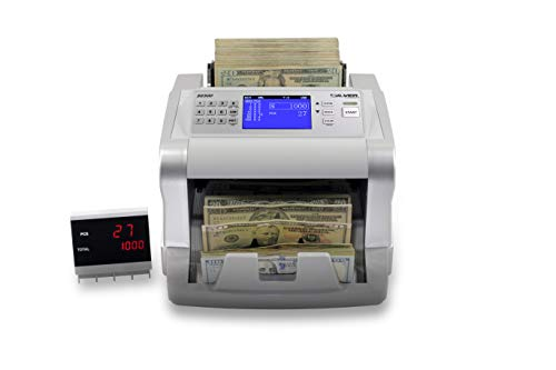 SILVER by AccuBANKER S6500 Cash Counter Money Counter Machine Quick Mixed Denomination Bill Counter with Counterfeit Detector UV, MG, Infrared, Size & Metal Thread (S6500)