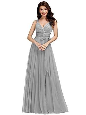 Women's V-Neck Wedding Party Bridesmaid Dress Evening Party Dresses Gray US14