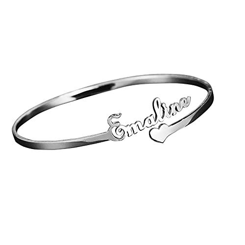 TinFrey Pulseras de Nombre Personalizadas Brazalete de Nombre Grabado Personalizado Regalo de joyería Chapado en Oro de 18 K para Esposa/niña/Parejas