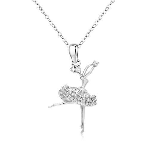 Collana ballerina per ragazze in argento Sterling 925 con ciondolo ballerino ballerina, regalo di laurea per ragazza, catenina da 18+5,1 cm