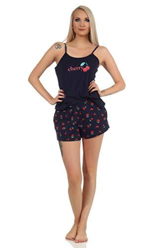 Süsser ärmelloser Damen Schlafanzug Shorty Pyjama mit Kirschen als Motiv - 112 206 90 535, Farbe:Marine, Größe:40-42