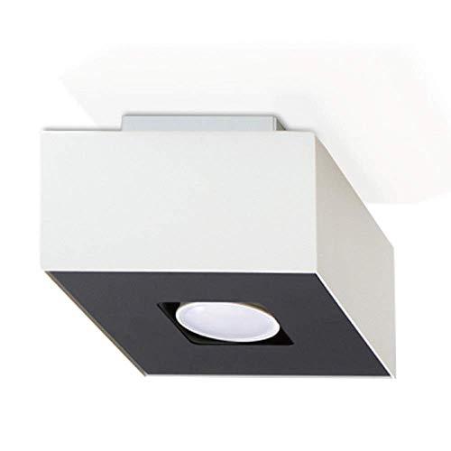 Plafonnier Mono 1-flammig Plafonnier Noir-Blanc 14x14cm Lampe de Salon Lampe Moderne Eclairage Intérieur Lampe+1x 7W Ampoule LED 2700K