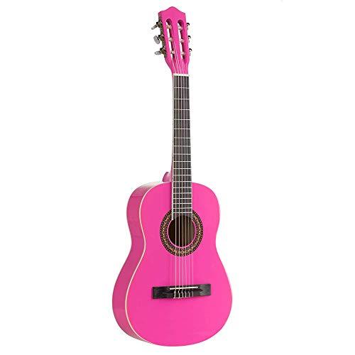 Voggenreiter Kindergitarre 1/2 Kinder Akustikgitarre Spielzeug Instrument (18 Bünde, offene Mechaniken mit Acrylknöpfen, authentischer Klang, Linde / Pappel), pink
