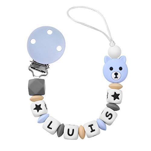 RUBY - Chupetero personalizado para bebé con nombre bola antibacteria con pinza de silicona y acero inoxidable con 3 agujeros de seguridad anti-asfixia (Azul Pastel)