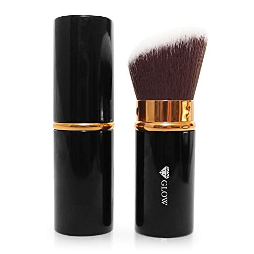GLOW Premium Kabuki Make-Up Pinsel einziehbar, Kosmetikpinsel einziehbar mit Kappe, Puderpinsel einziehbar, Bronzerpinsel, premium Synthetikhaar, abgeschrägter Puderpinsel, Gesichtspinsel, Rougepinsel